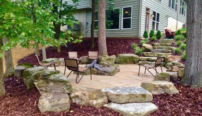 Limestone slab steps & fire pit