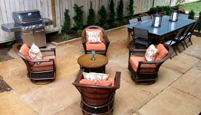 Sandstone slab patio