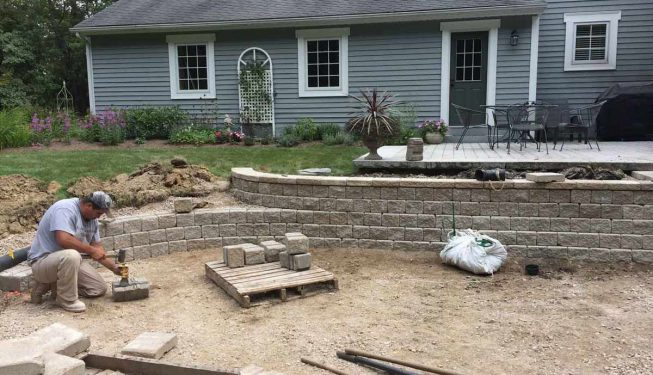Bluestone patio in progress